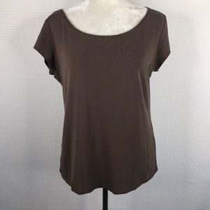 Eileen Fisher 100% Silk Top Brown Blouse Large